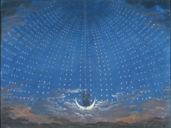 """Karl-Friedrich Schinkel, Bühnenbildentwurf für die Oper """"Die Zauberflöte"""" - die Sternenhalle der Königin der Nacht;"""