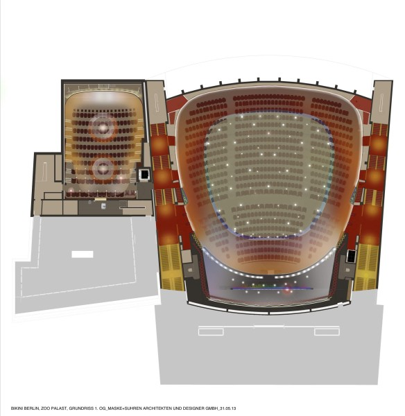 BIKINI BERLIN, ZOO PALAST, GRUNDRISS 1. OG, MASKE+SUHREN ARCHITEKTEN UND DESIGNER GMBH, 31.05.2013.