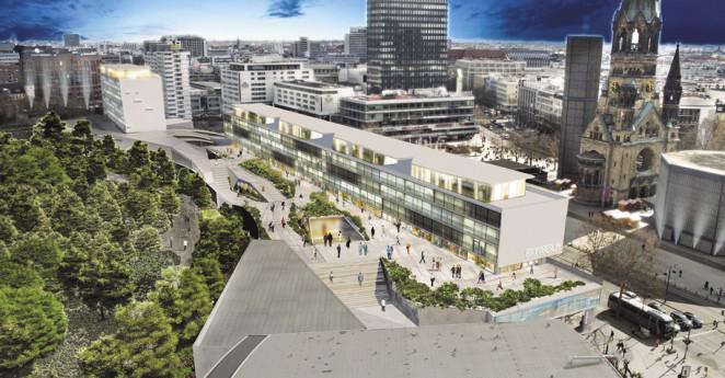 Fotomontage des Gebäude-Ensembles mit Blick vom großen Hochhaus am Harenbergplatz auf das Bikinihaus nach Entwurf von Arne Quinze, Simulation: BBIG (Bayrische Bau und Immobiliengruppe).